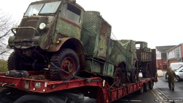 Military vehicles on lorry