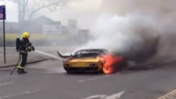 Lamborghini goes up in flames