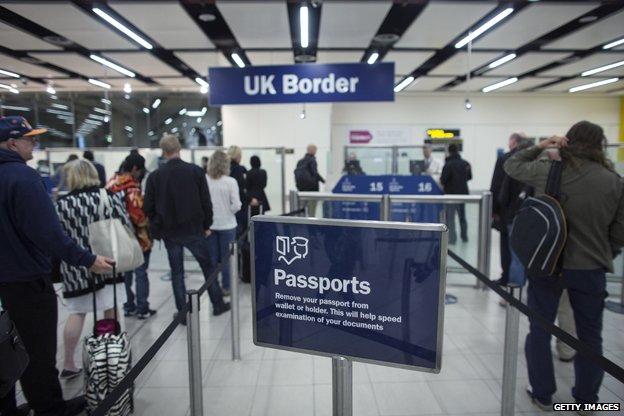 Passport control at airport