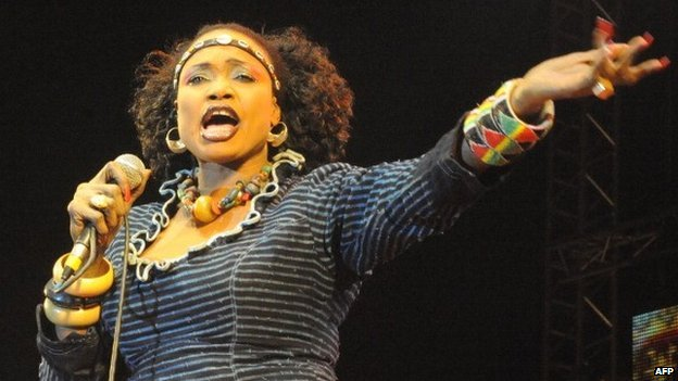 Malian singer Oumou Sangare performs in Essaouira on 22 June  2012 during the Gnaoua World Music Festival