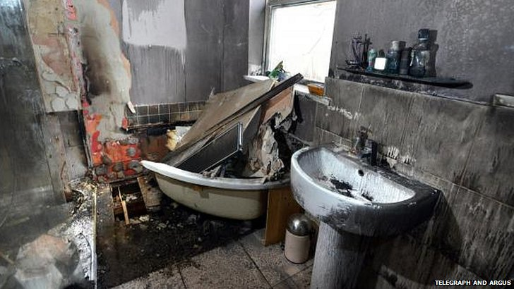 Fire-damaged bathroom