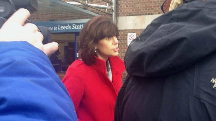 Claire Perry at Leeds railway station