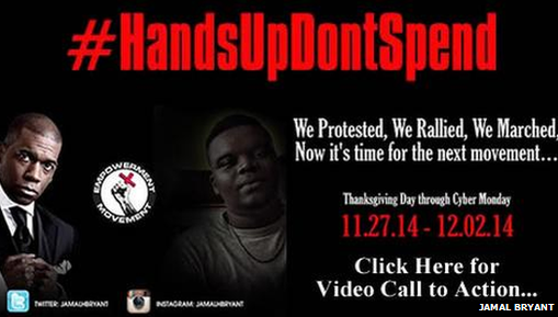 "Poster advertising the ""hands up don't spend"" campaign"
