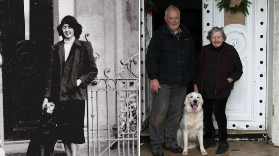 Jocelyn Hemming outside Poltmore House in 1949, and now in 2014 with Ashley Roberts who was born in house.