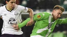 Everton's Muhamed Besic and Nicklas Bendtner