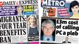 Composite image of Express and Metro front pages