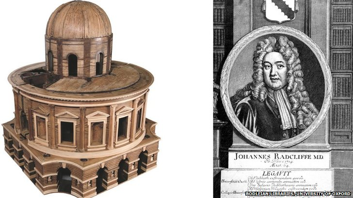A wooden model of the Radcliffe Library from 1734-5 based on a design by Nicholas Hawksmoor and an illustration of John Radcliffe that was used as the frontispiece for a book of poetry published by the University of Oxford in 1715