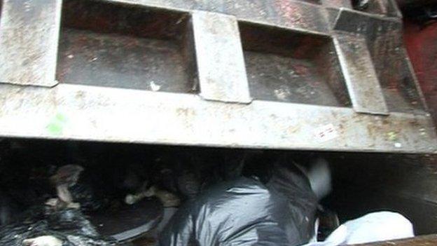 Rubbish in a refuse lorry