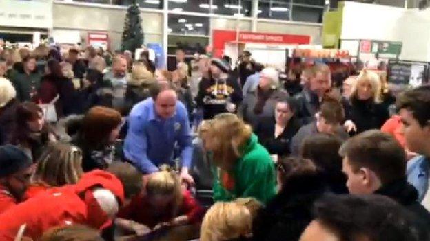Shoppers at Black Friday sales in Tesco Silverburn, Pollok, Glasgow