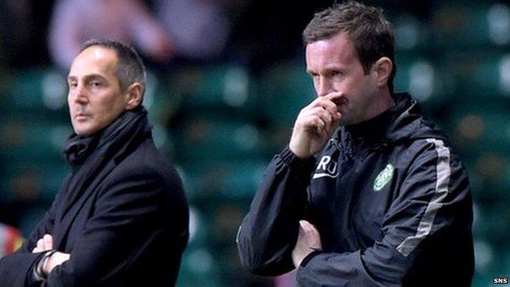 Celtic manager Ronny Deila looks on