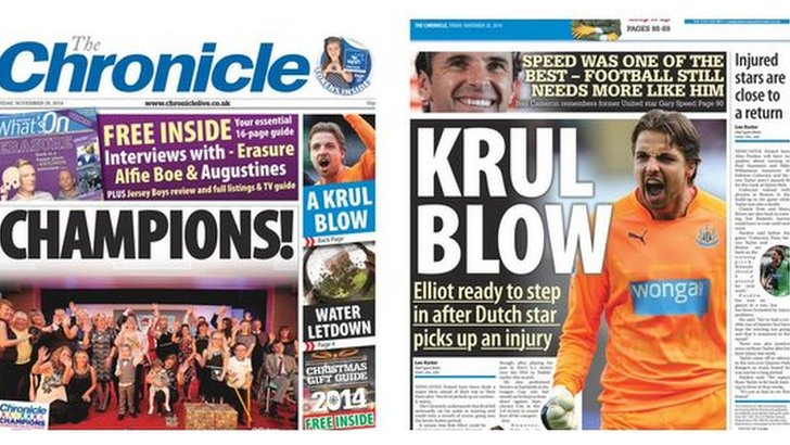 Chronicle front and back pages