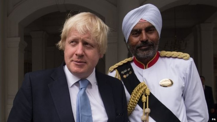 London Mayor Boris Johnson with doorman Narajan