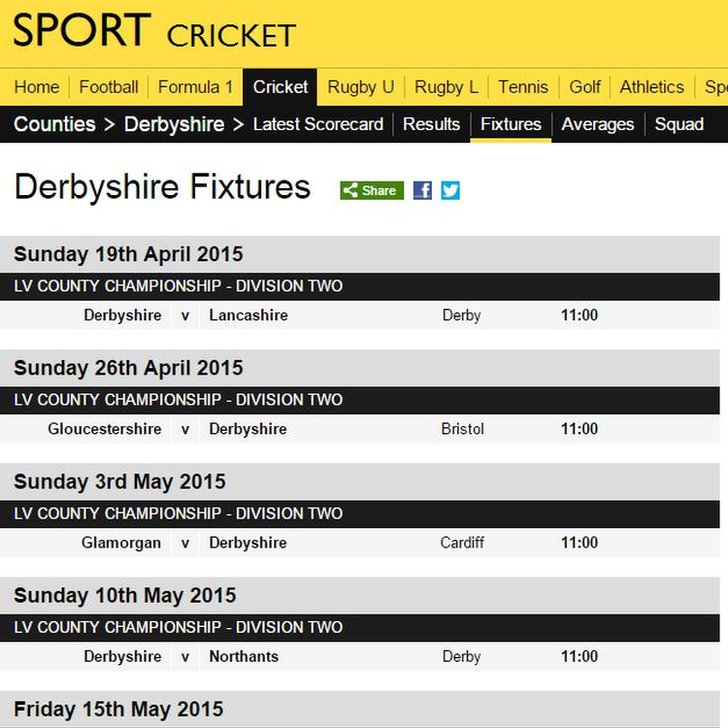 Derbyshire 2015 fixtures