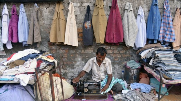 tailor outdoors with wares