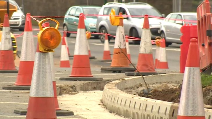 Roadworks at Markeaton Island, Derby