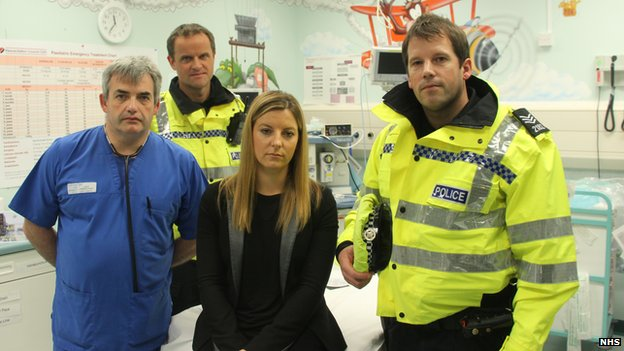 Vicky Dowdall with police and doctor