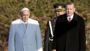 Pope Francis stands next to Turkey's President Tayyip Erdogan at the presidential palace in Ankara 28 November 2014