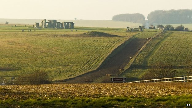 Stonehenge with grassed over road