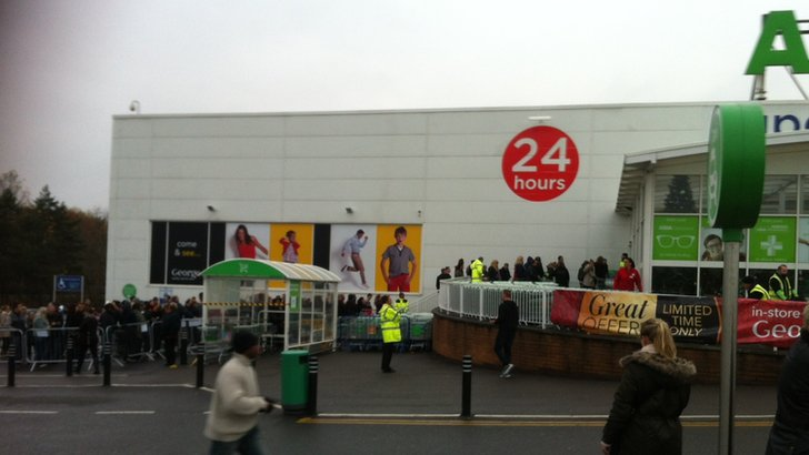 Queues outside Asda