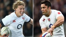Billy Twelvetrees and Brad Barritt in action for England
