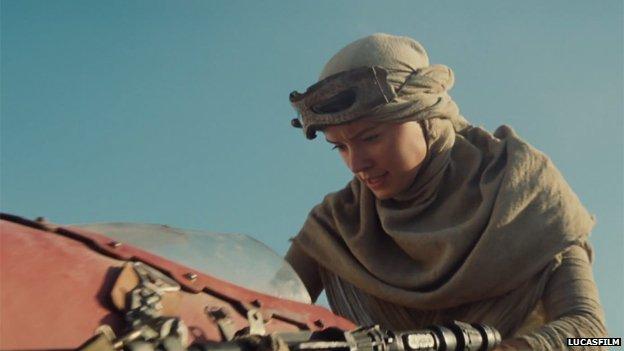 Daisy Ridley in the Star Wars trailer