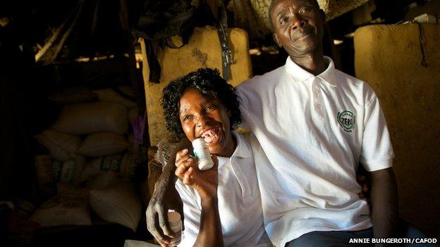 Jean (L) and her husband in Ndola, Zambia