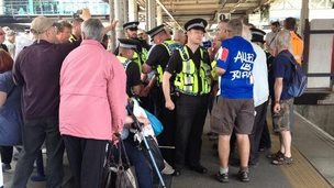 Freedom Riders protest at Sheffield train station