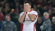Ulster fly-half Ian Humphreys shows his disappointment after his late missed conversion