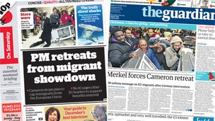 Composite image of i and Guardian front pages