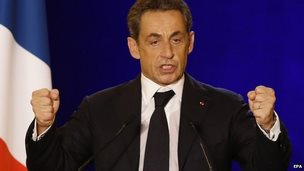 Nicolas Sarkozy, former French President And candidate of the Union For a Popular Movement (UMP), delivers a speech at the last campaign rally for the leadership of the UMP political party, in Nimes, southern France, 27 November 2014