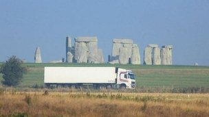 Undated handout photo issued by the National Trust of a lorry passing Stonehenge on the A303