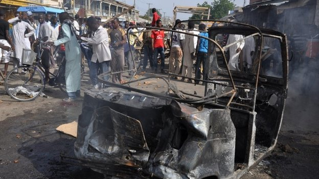 A bombing at a market in  Maiduguri in JUly 2014
