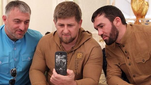 Ramzan Kadyrov with the new Russian YotaPhone 2