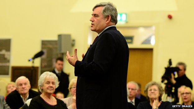 Gordon Brown speaking during a press conference to announce he is standing down as an MP, at The Kirkcaldy Old Kirk Trust
