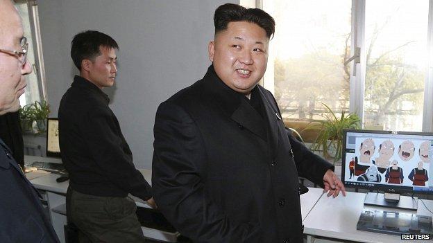 North Korean leader Kim Jong-un gives field guidance during his visit to the Korean Cartoon Film Studio. 27 Nov 2014