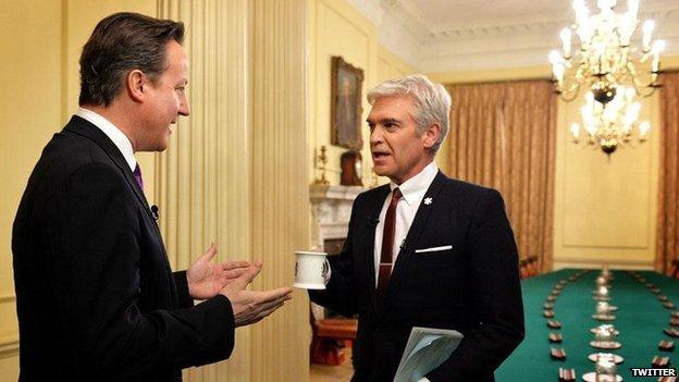 David Cameron and Phillip Schofield