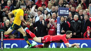 Wales wing George North scores a try