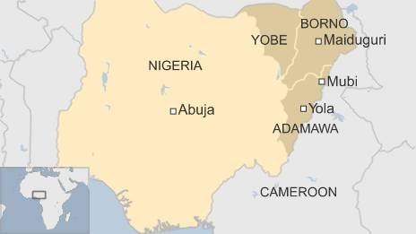 Map of Nigeria, showing north-east cities