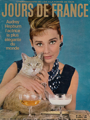 Audrey Hepburn as Holly Golightly on cover of Jours de France, January 1962