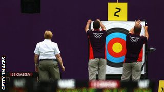 volunteers working on archery event at the 2012 Olympics