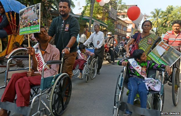 People in India took part in a rally to mark the 2013 International Day of persons with disabilities