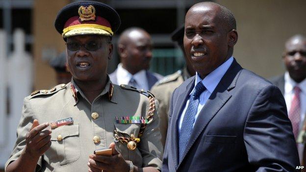 Kenya's Interior Minister Joseph Ole Lenku (right) and  in Nairobi in April 2014