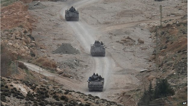 Lebanese tanks on the lebanon syria border 3 December 2014