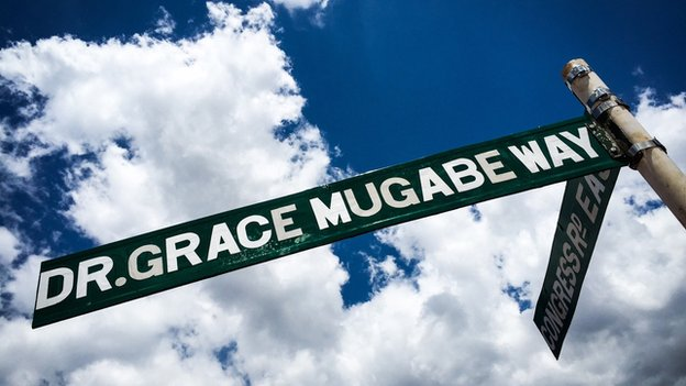 "A signpost reading ""Dr Grace Mugabe Way"" in Harare, Zimbabwe"
