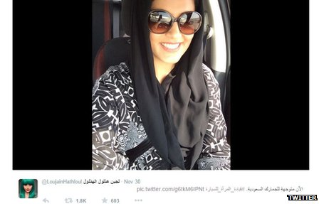 Lujain Al Hathlool posted a picture of her on twitter driving