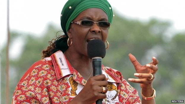 Zimbabwe's First Lady Grace Mugabe addressing her maiden political rally in Chinhoyi, 2 October 2014