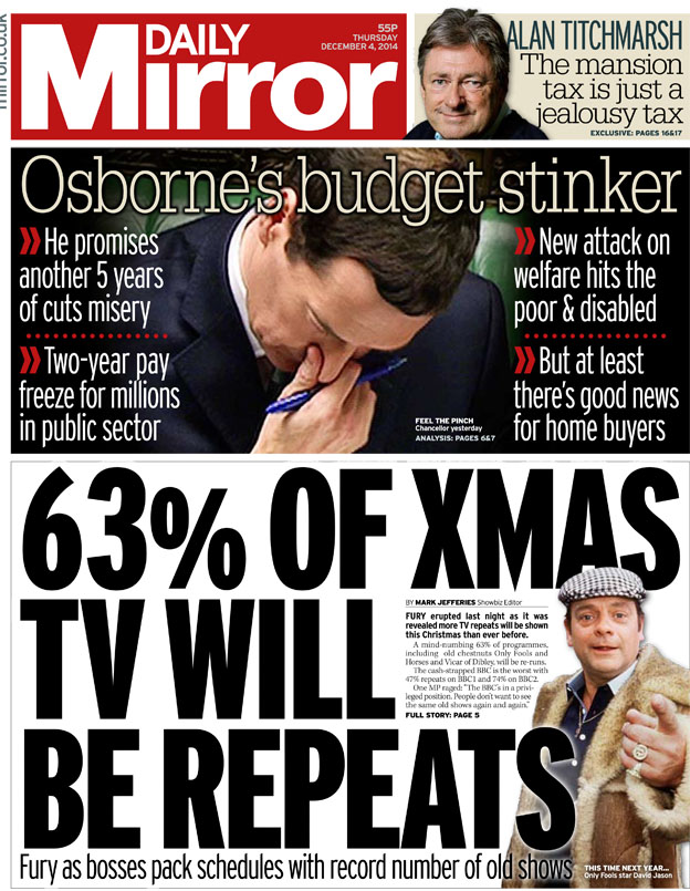 daily mirror - 2014 Christmas Shows On Tv