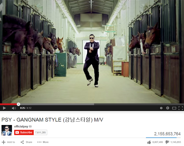 Screenshot of Psy's video on YouTube