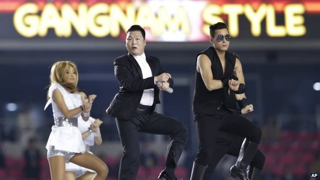 """South Korean rapper Psy performs """"Gangnam Style"""" during the opening ceremony for the 17th Asian Games in Incheon, South Korea, Friday, Sept. 19, 2014."""