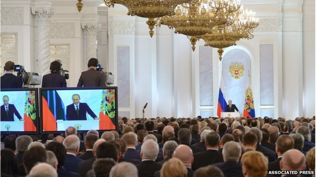 Vladimir Putin gives state of the nation address in Moscow